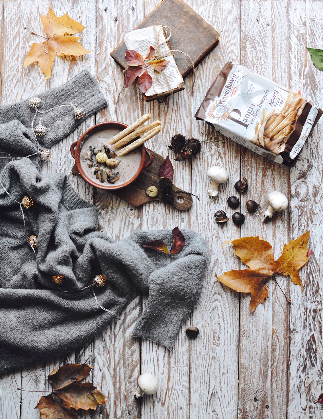 7-1 The perfect seasonal recipe: chestnut and mushroom soup with Pangrì Mulino Bianco.